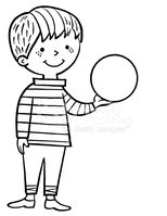 Boy holding clipart black and white svg freeuse download Boy Holding Ball stock vectors - Clipart.me svg freeuse download