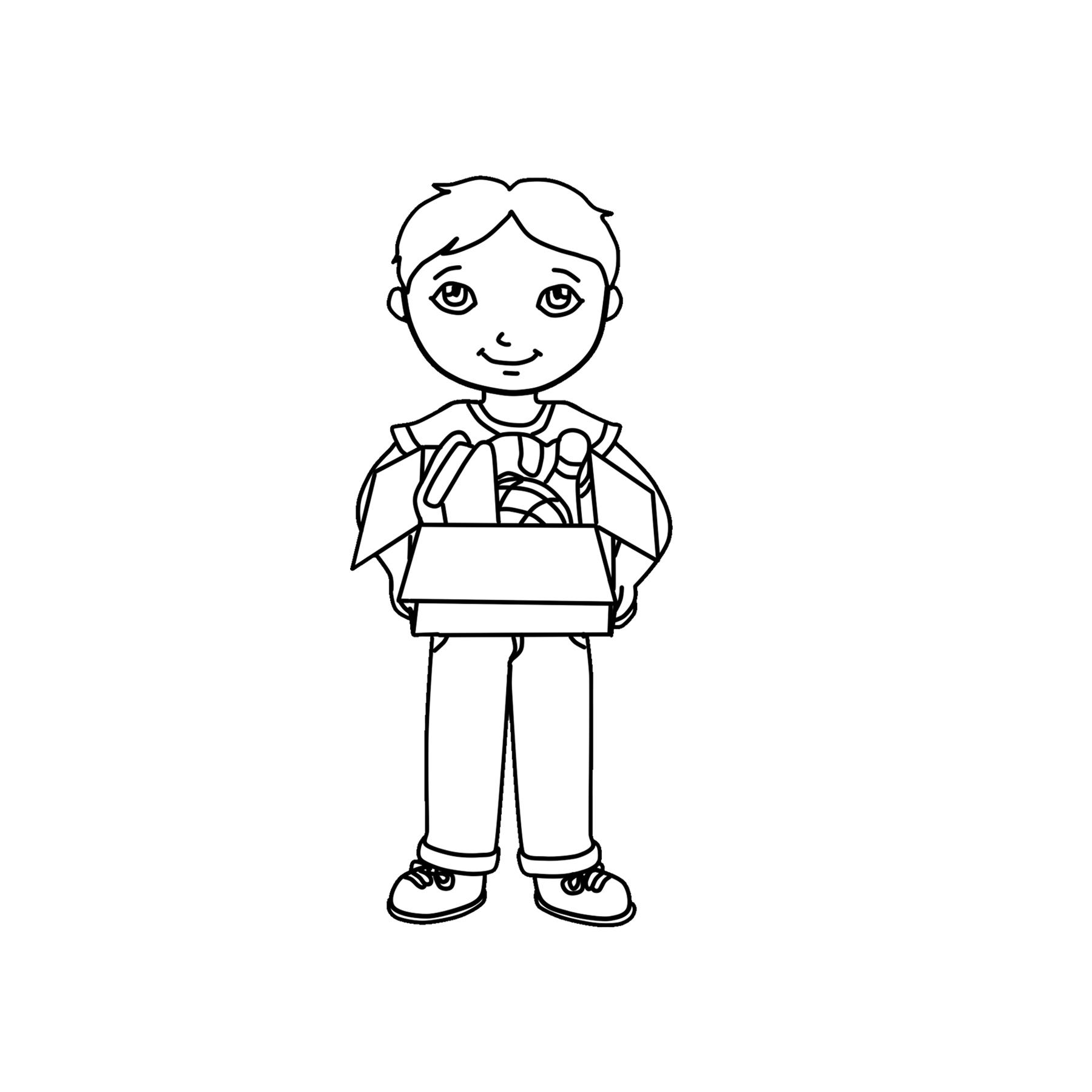 Boy holding clipart black and white jpg black and white library Kid Holding Box Clipart Graphic - Free Clipart - Clipart 4 School jpg black and white library
