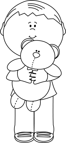 Boy holding clipart black and white svg black and white download Black and White Boy Holding a Teddy Bear Clip Art - Black and White ... svg black and white download