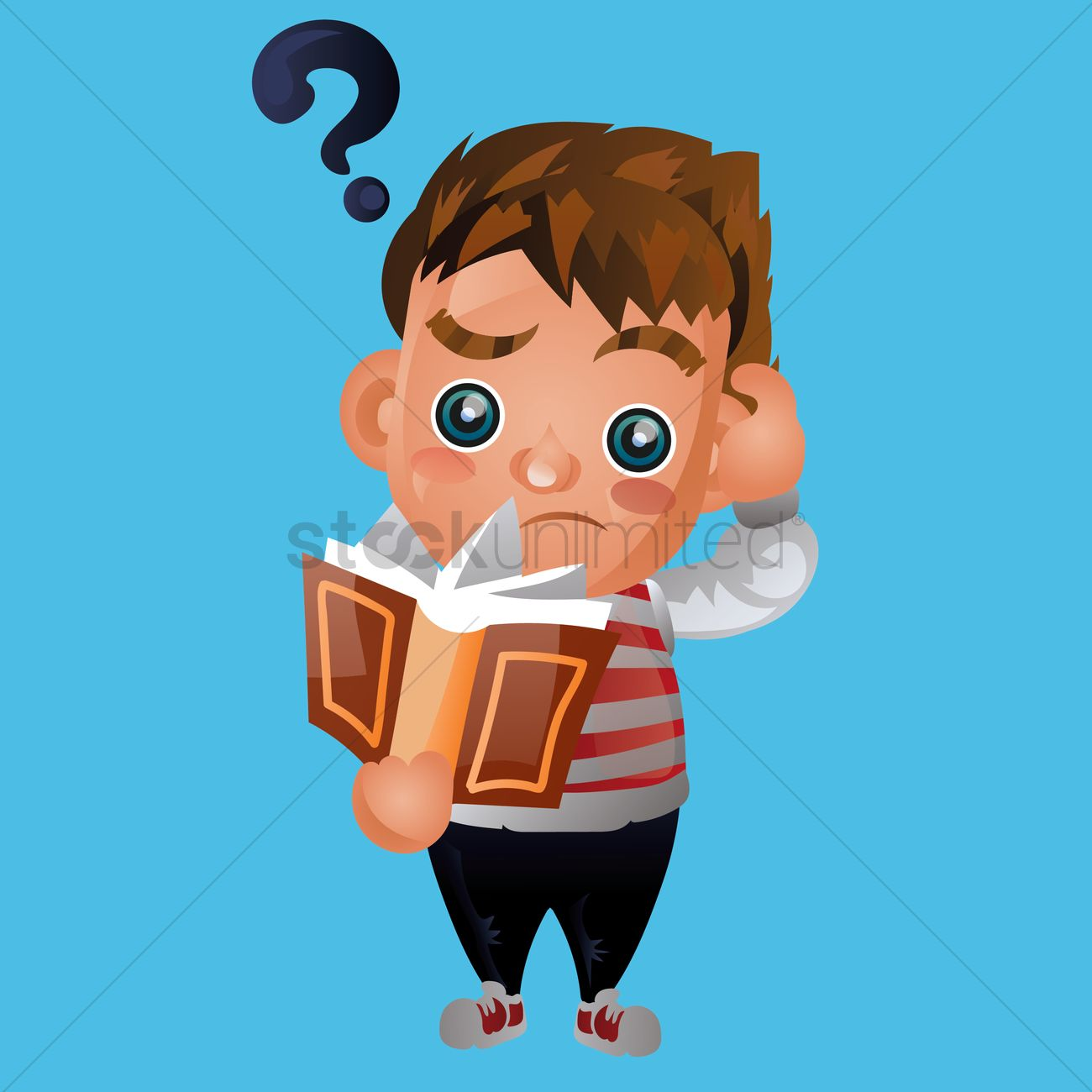 Boy holding head reading clipart jpg black and white download Boy scratching his head in confusion Vector Image - 1543079 ... jpg black and white download