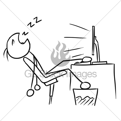 Boy in front of a computer clipart clip black and white stock Cartoon Of Man Sleeping In Front Of The Computer Screen · GL Stock ... clip black and white stock