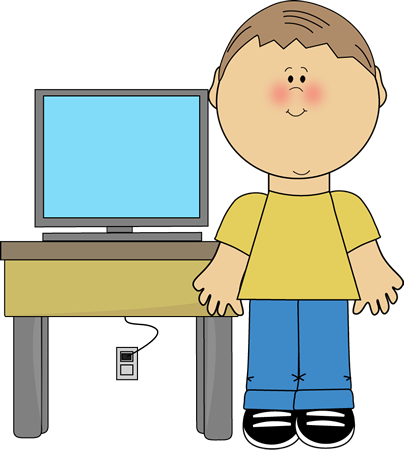 Cute kids with technology clipart