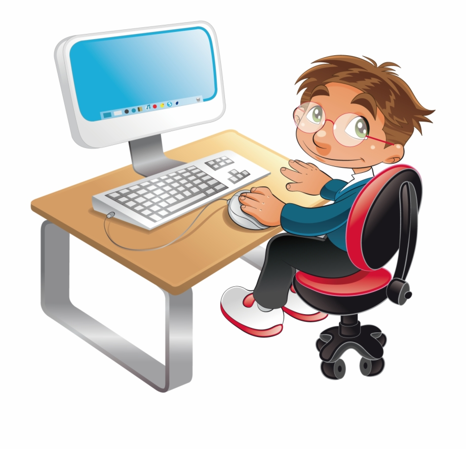 Boy in front of a computer clipart vector transparent library Sitting In Front Of Computer Png - Boy Using Computer Cartoon Free ... vector transparent library