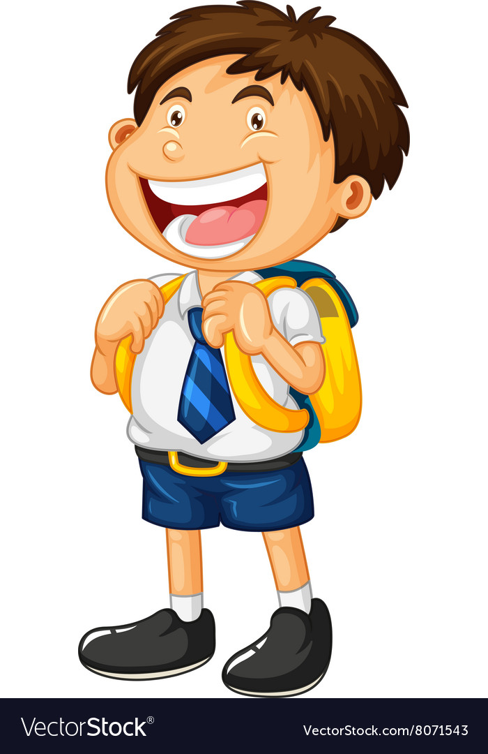 Boy in school uniform clipart