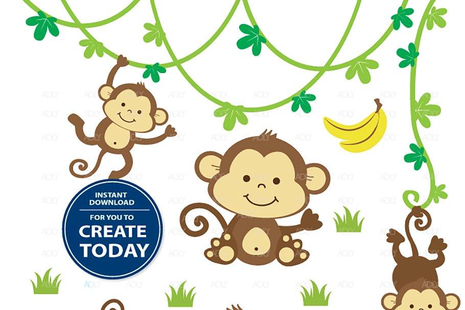 Jungle monkey clipart jpg freeuse download Cute boy monkey clipart jungle set jpg freeuse download