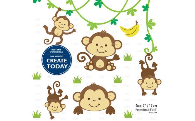 Boy monkey clipart jpg free library Boy Monkey Clip Art Monkey Print Set jpg free library
