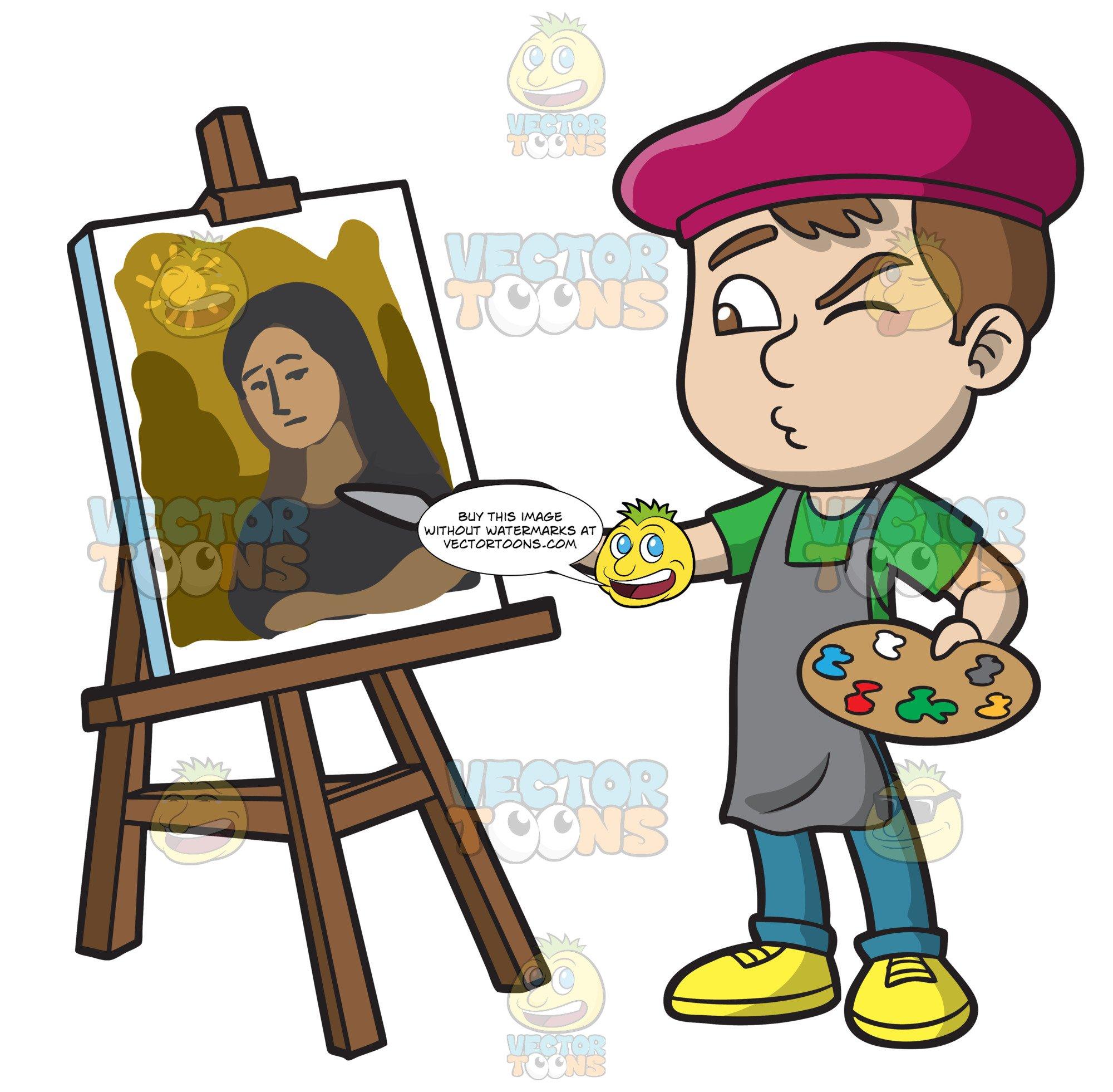 Boy painting clipart clip art A Boy Painting A Portrait clip art