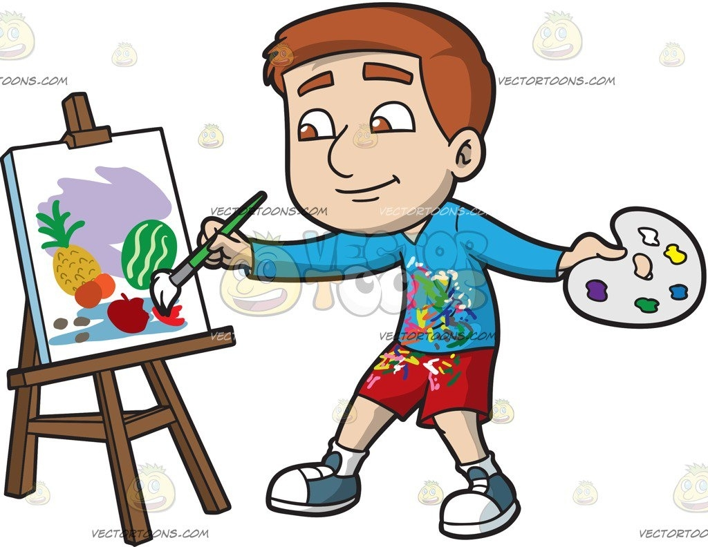 Boy painting clipart picture black and white download A Boy Painting Still Life Fruits Cartoon Clipart – Vector Toons ... picture black and white download