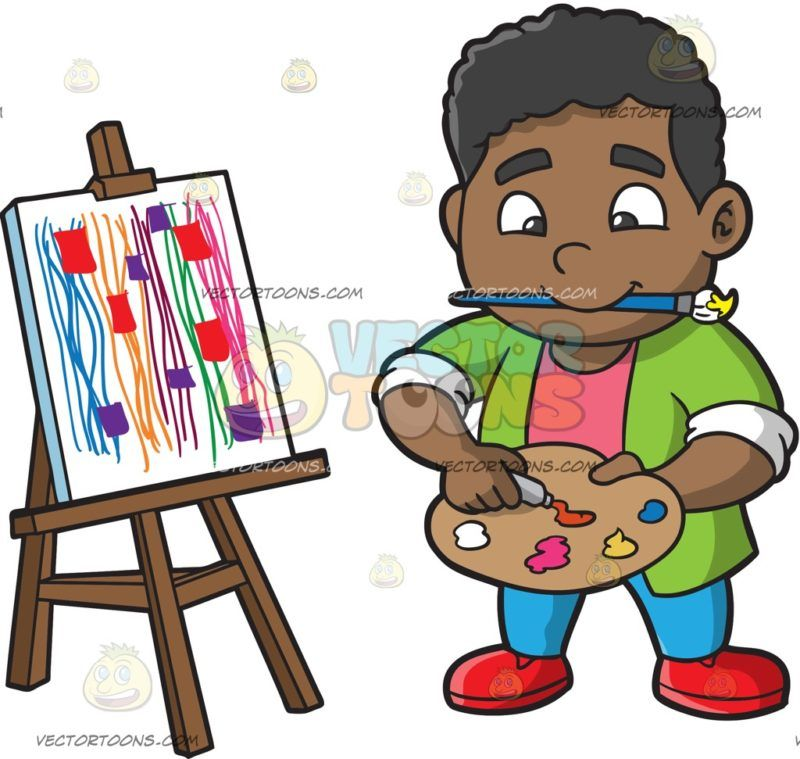 Boy painting clipart clipart royalty free A Chubby Boy Painting Abstract: A black boy with curly hair wearing ... clipart royalty free