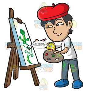 Boy painting clipart svg royalty free stock An Asian Boy Painting A Lizard svg royalty free stock