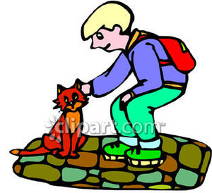 Boy petting clipart clipart royalty free download A Boy Petting a Red Cat Royalty Free Clipart Picture clipart royalty free download