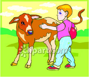 Boy petting clipart jpg black and white stock Boy Petting a Baby Cow - Royalty Free Clipart Picture jpg black and white stock