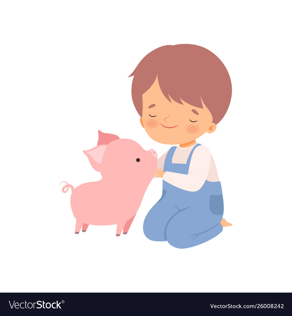 Boy petting clipart banner library library Cute boy petting piglet kid interacting with banner library library