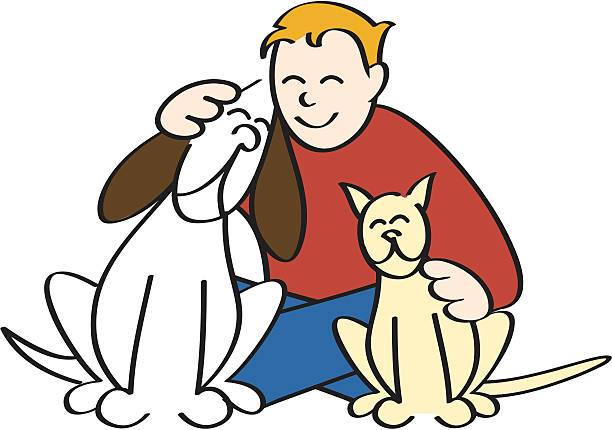 Boy petting clipart vector free stock A boy hugging his dog and petting his cat in a display of happy ... vector free stock