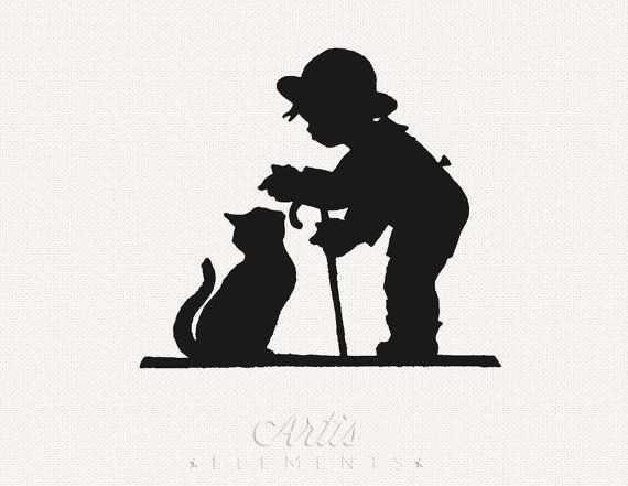 Boy petting clipart clip transparent download Pin by Sara Schneider on Vintage Clip Art | Silhouette, Cat ... clip transparent download
