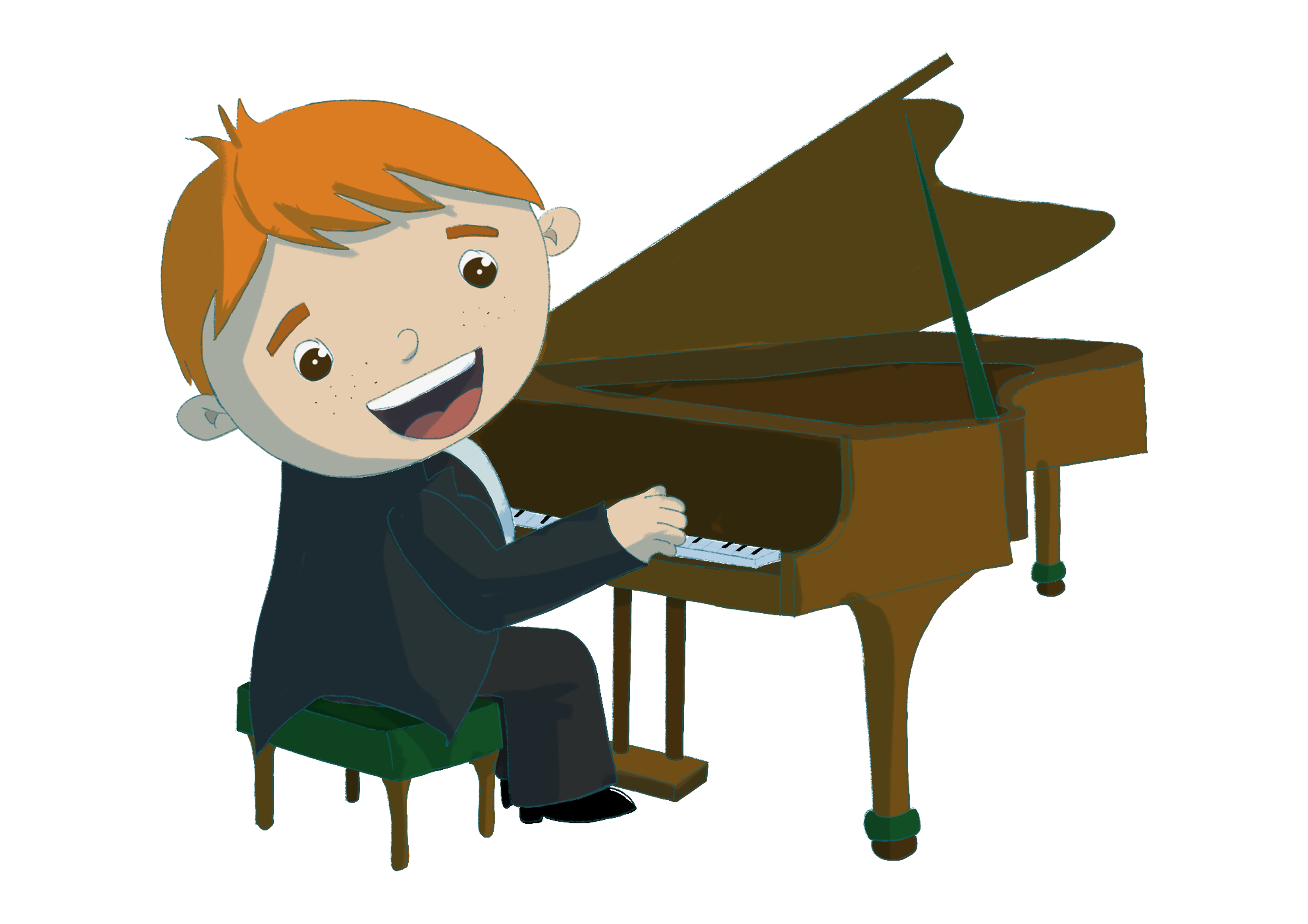 Kids playing piano clipart graphic library stock Music through the ages. Child playing the piano illustration ... graphic library stock