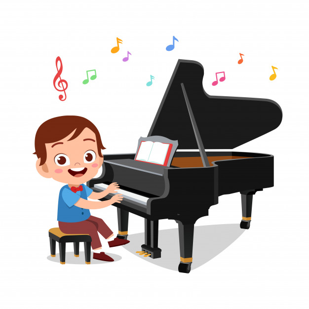 Boy playing piano clipart clipart freeuse stock Boy and a girl playing piano Vector | Premium Download clipart freeuse stock