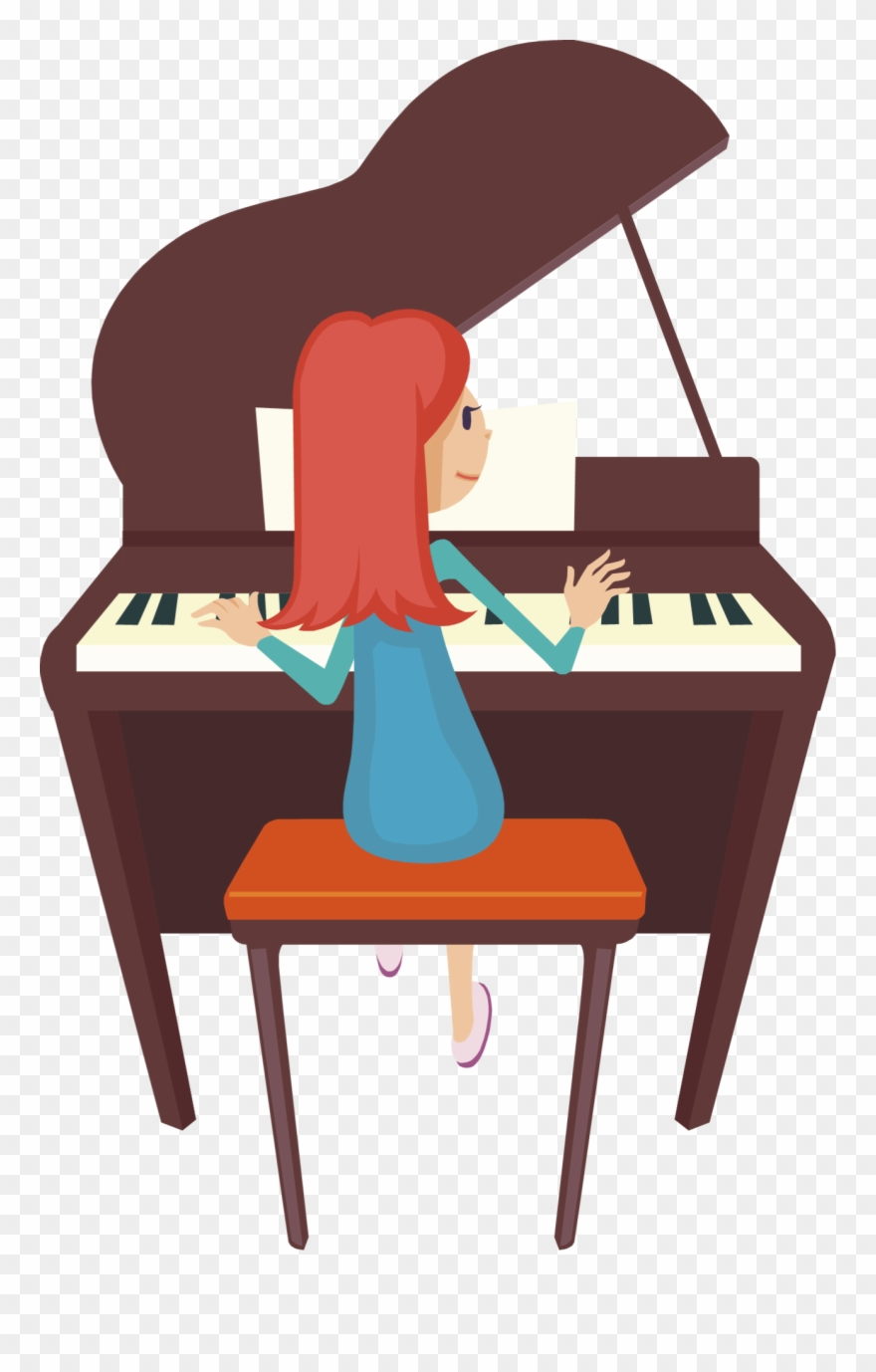 Playing piano clipart svg library download Piano Clipart Two - Cartoon Girl Playing Piano - Png Download ... svg library download