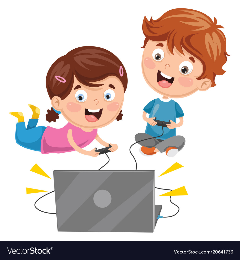 Boy playing video games clipart stock Kids playing video game stock