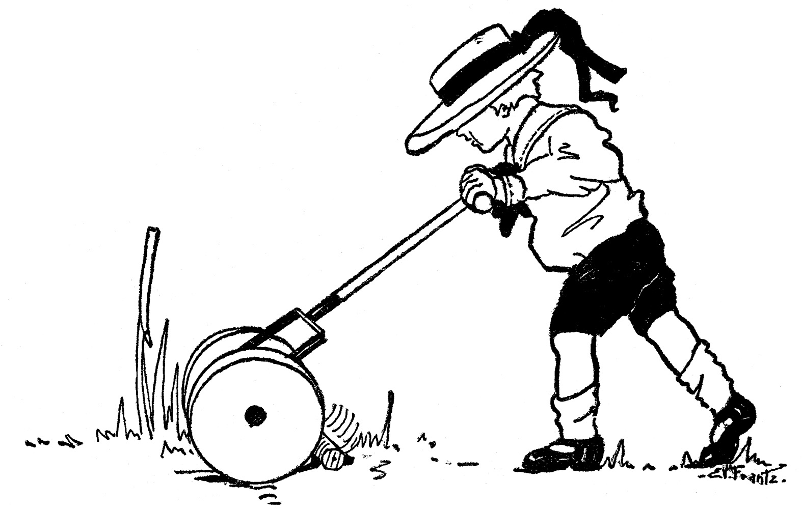 Boy pushing another boy clipart black and white image royalty free library Vintage Summer Clip Art - Boy with Lawn Mower - The Graphics Fairy image royalty free library