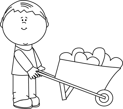 Boy pushing another boy clipart black and white vector royalty free stock Black and White Boy with Wheelbarrow of Hearts Clip Art - Black and ... vector royalty free stock