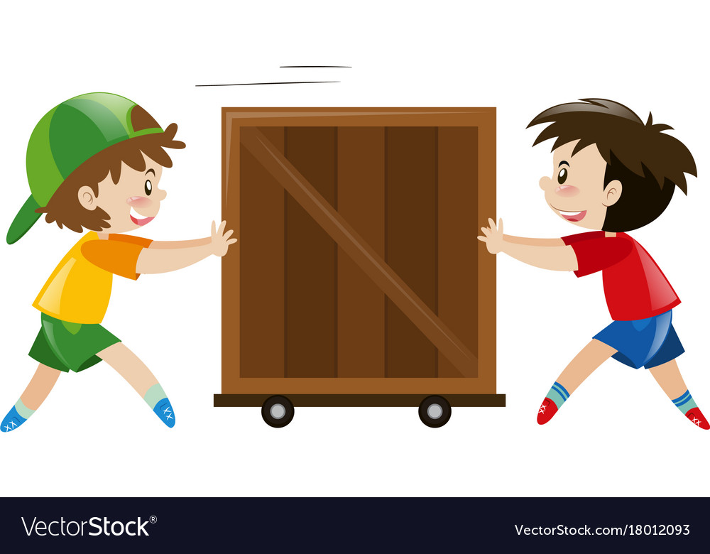 Boy pushing another boy clipart black and white banner freeuse download Two boys pushing wooden box vector image banner freeuse download