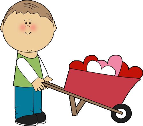 Boy pushing another boy clipart black and white image free Boy Pushing Wheelbarrow of Hearts Clip Art - Boy Pushing - Clip Art ... image free