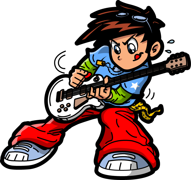 Rock music Rockstar Clip art - Hand-painted guitar rock boy pattern ... clipart black and white download