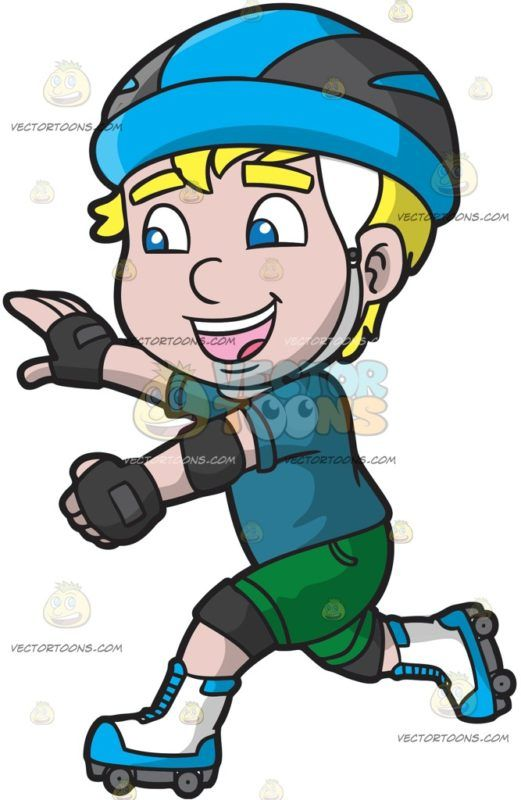 Boy roller skating clipart image black and white library A Happy Roller Skater Boy: A boy with blonde hair wearing a sky blue ... image black and white library