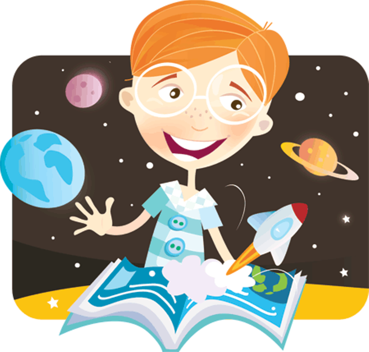 Clipart boy points to book image library library Little Genius | Features | Kids VT - small people, big ideas! image library library
