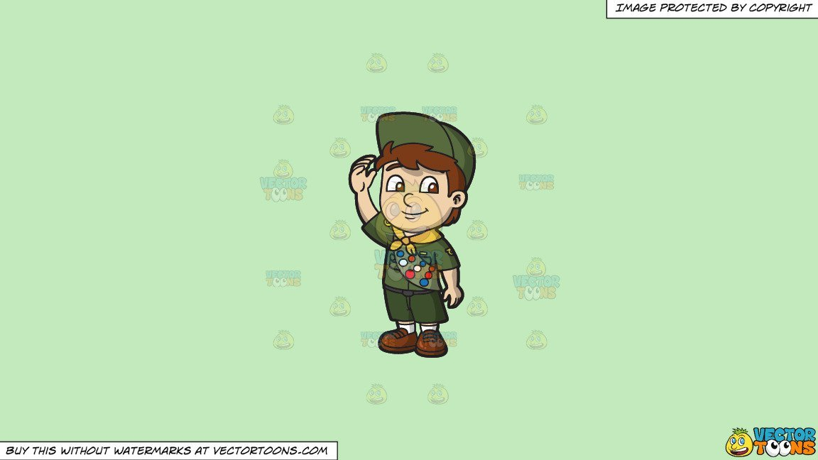 Boy scout cartoon clipart svg royalty free Clipart: A Friendly Boy Scout on a Solid Tea Green C2Eabd Background svg royalty free