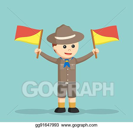 Boy scout flag clipart png royalty free library Vector Illustration - Boy scout holding semaphore flags. EPS Clipart ... png royalty free library