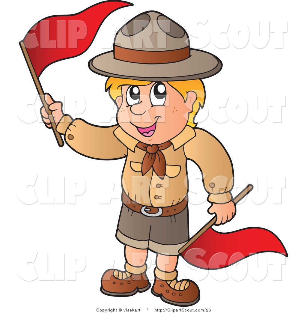 Boy scout flag clipart graphic freeuse download Vector Clipart of a Boy Scout with Red Flags by visekart - #26 graphic freeuse download