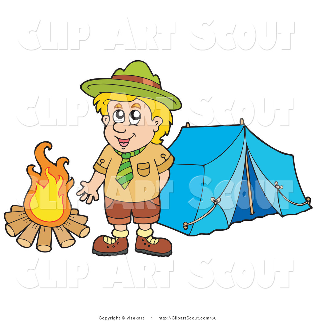 Boy scout smile clipart graphic black and white library Clipart of a Happy Scout Boy Standing by a Camp Fire by visekart - #60 graphic black and white library