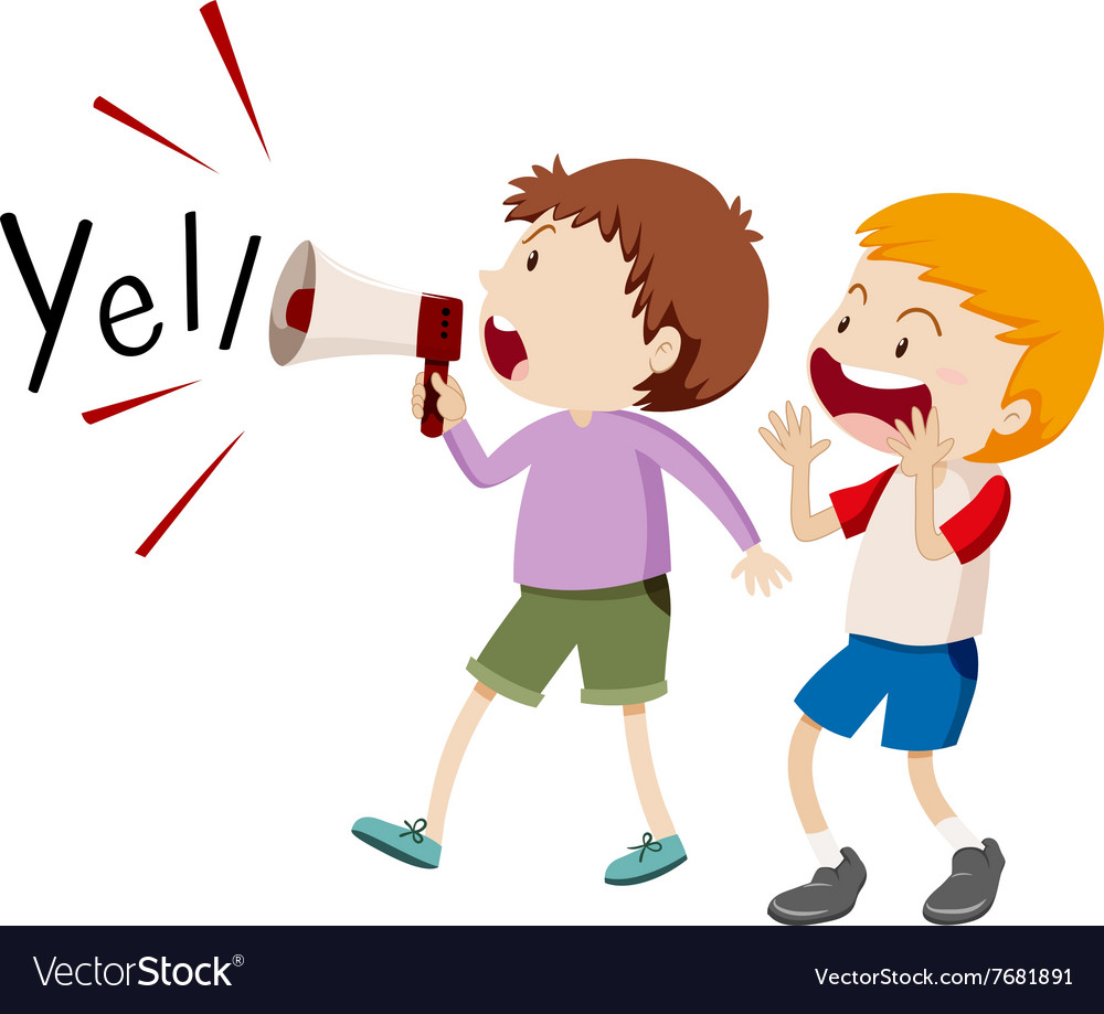 Boy shouting clipart png transparent download Two boys with the speaker yelling vector image png transparent download