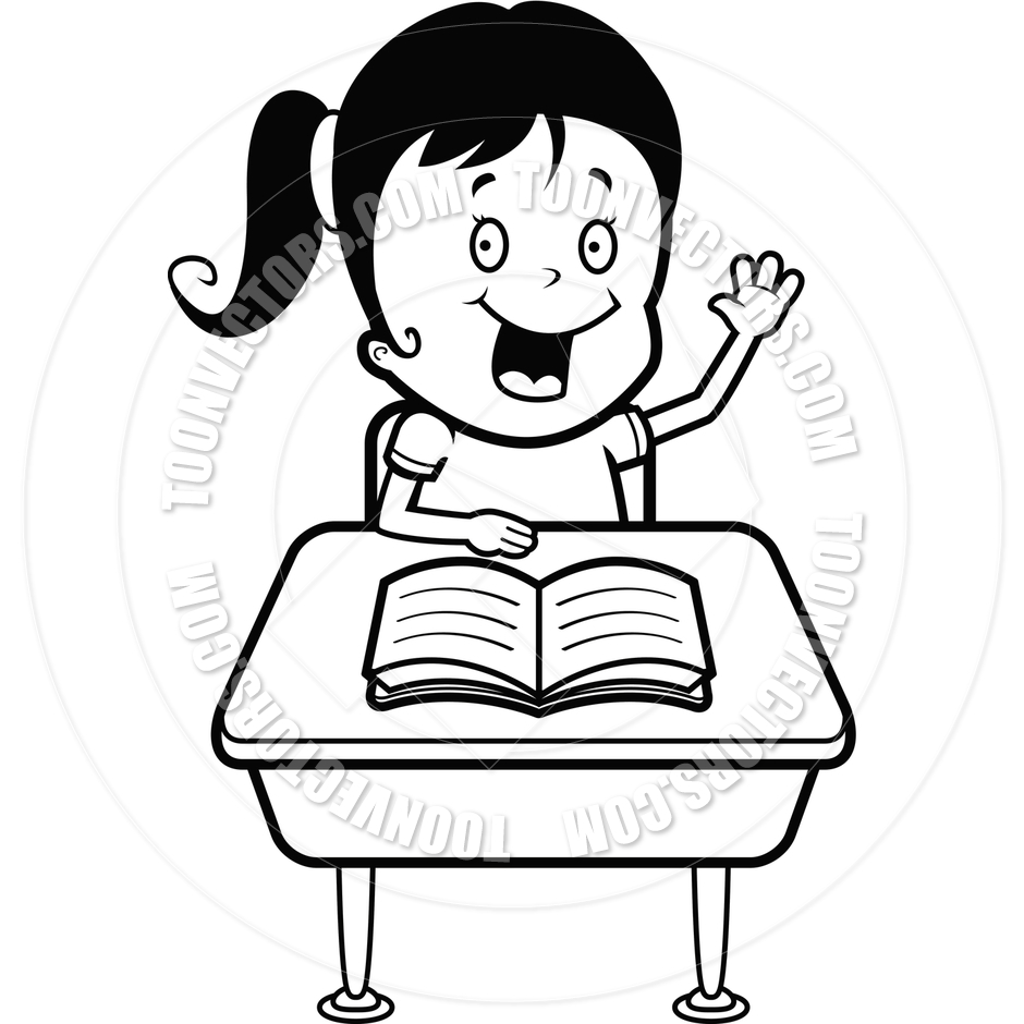 Boy sitting at desk thinking black and white cartoon clipart jpg library download Students Clipart Black And White | Free download best Students ... jpg library download