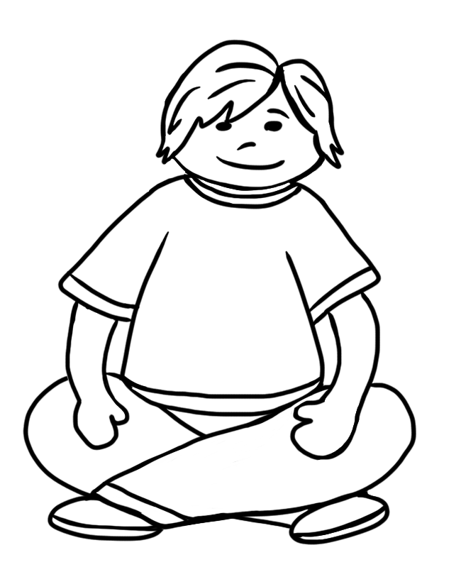 Boy sitting cross legged clipart banner black and white library 28+ Collection of Child Sitting On Floor Clipart | High quality ... banner black and white library
