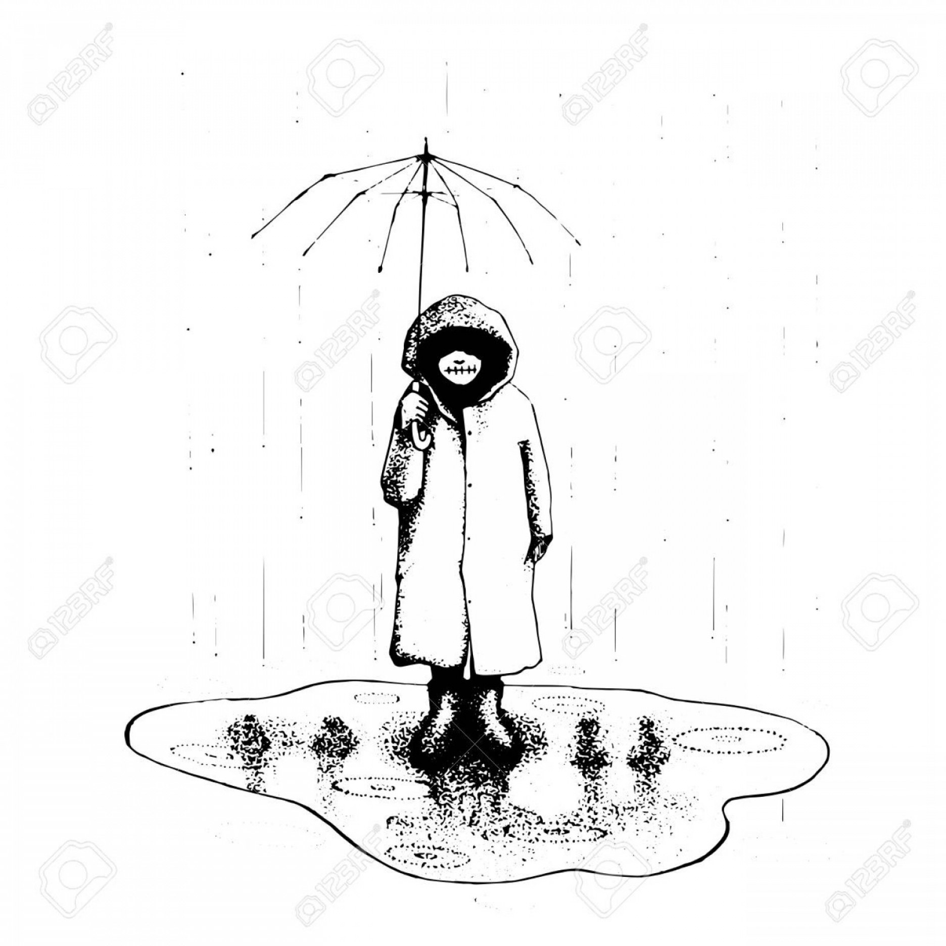 Boy standing alone clipart vlack and white black and white stock Photostock Vector Girl Stand Alone In The Rain With Umbrella Vector ... black and white stock