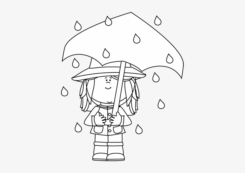 Boy with umbrella clipart black and white banner transparent stock Black And White Girl Standing In The Rain Clip Art - Rain And ... banner transparent stock