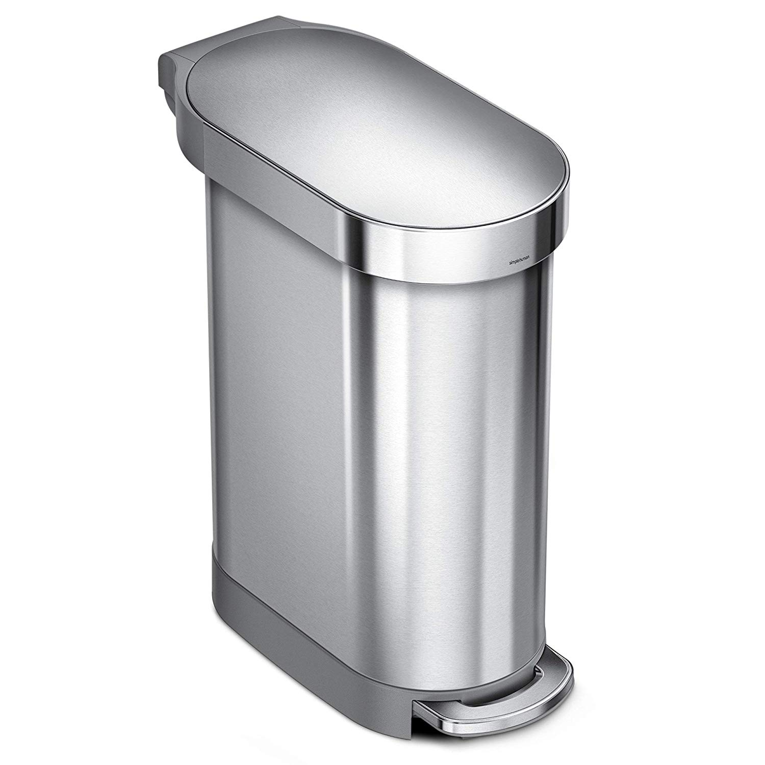Boy stepping on garbage can pedal clipart picture free stock simplehuman 45 Liter / 12 Gallon Stainless Steel Slim Kitchen Step Can with  Liner Rim, Brushed Stainless Steel picture free stock