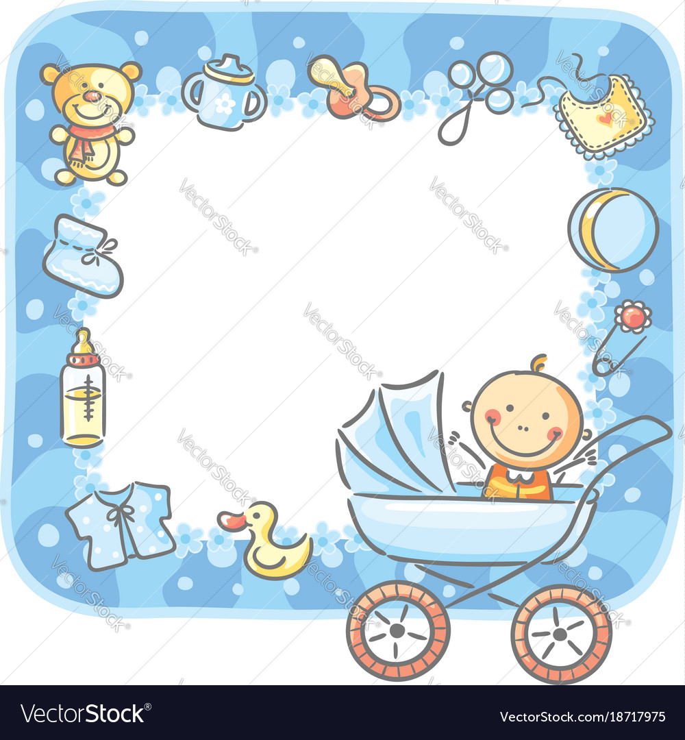 Boy stuff clipart jpg black and white stock Frame with baby-boy things jpg black and white stock