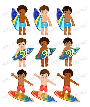 Boy surfing clipart clip art free stock African American Surfer Boys Clipart - Clip Art clip art free stock