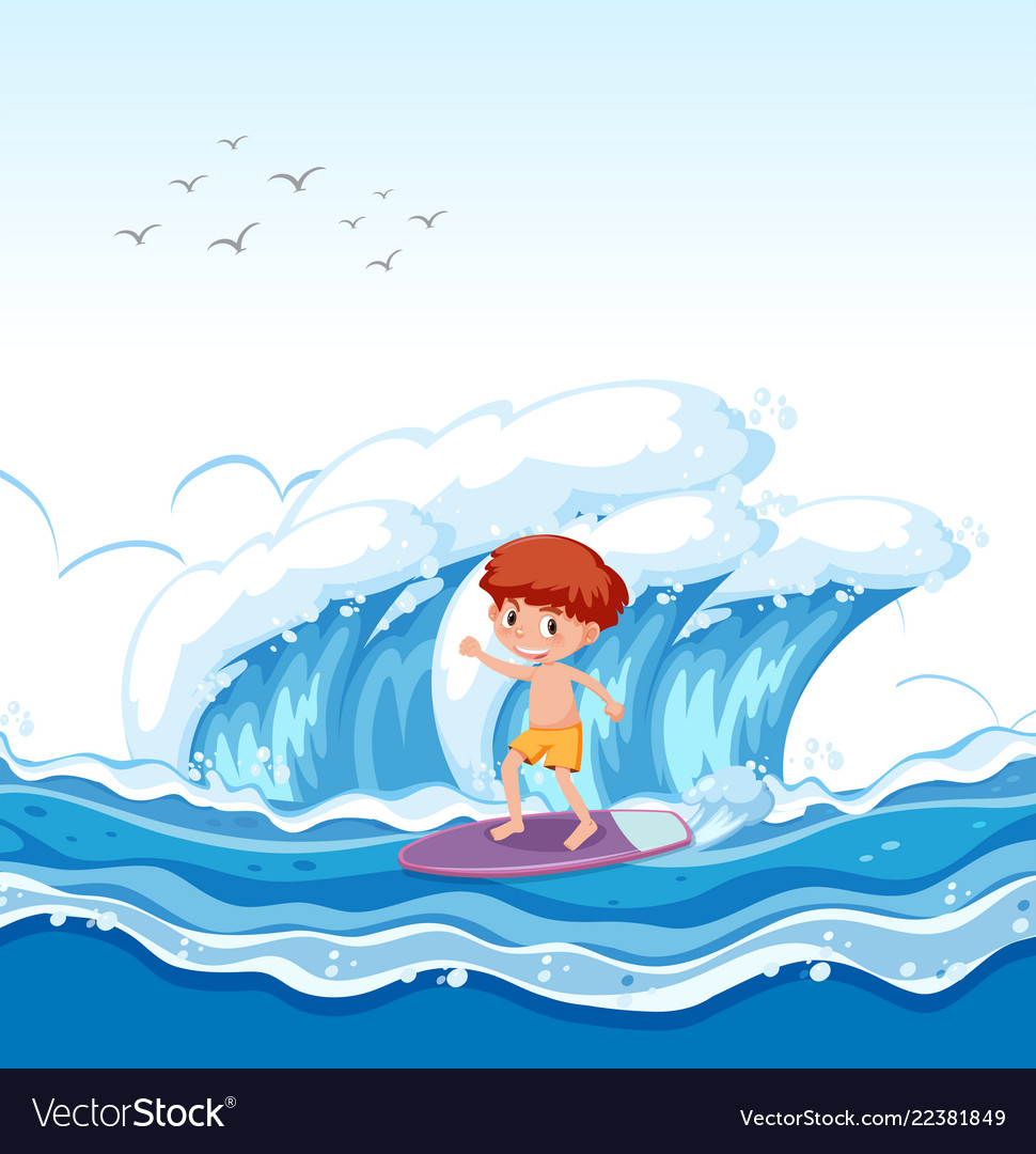 Boy surfing clipart royalty free A boy surfing big wave royalty free