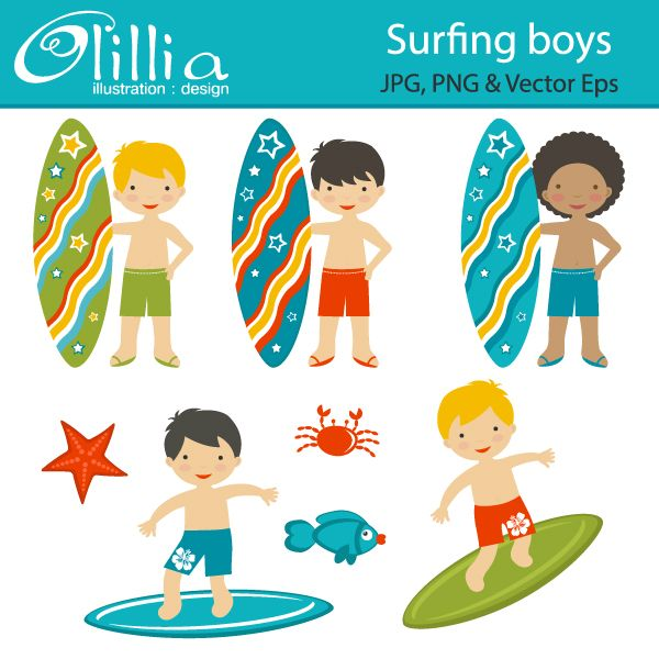 Boy surfing clipart clipart free stock Surfing boys - adorable surfers are great for scrapbooking ... clipart free stock
