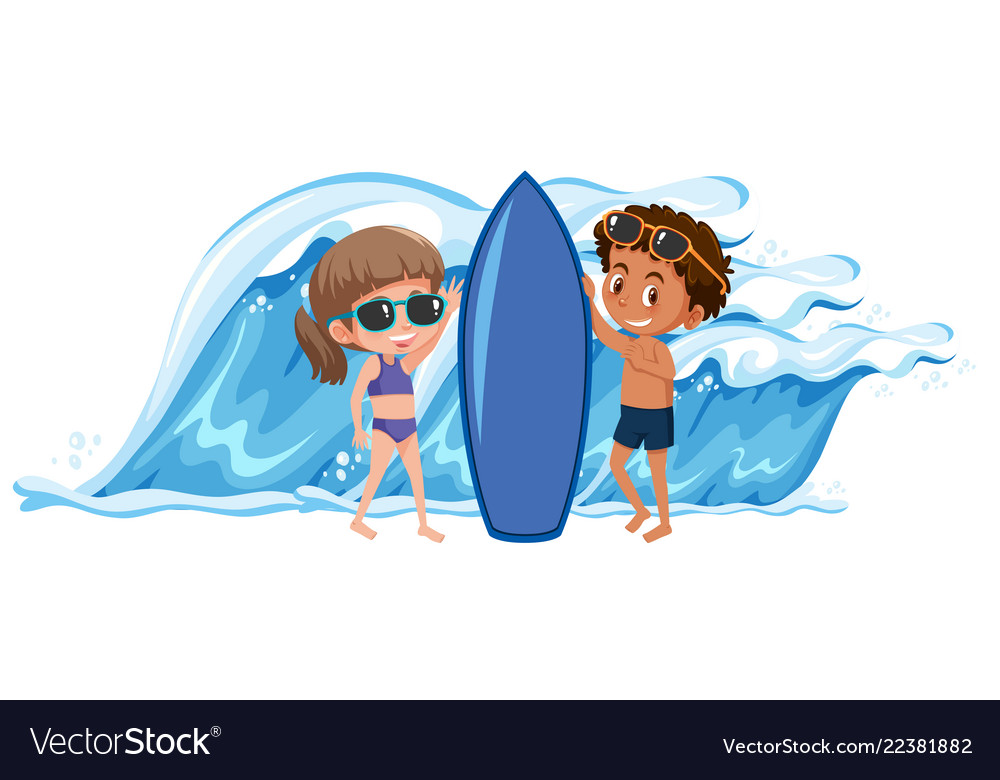 Boy surfing clipart banner library Boy and girl holding the surfboard banner library