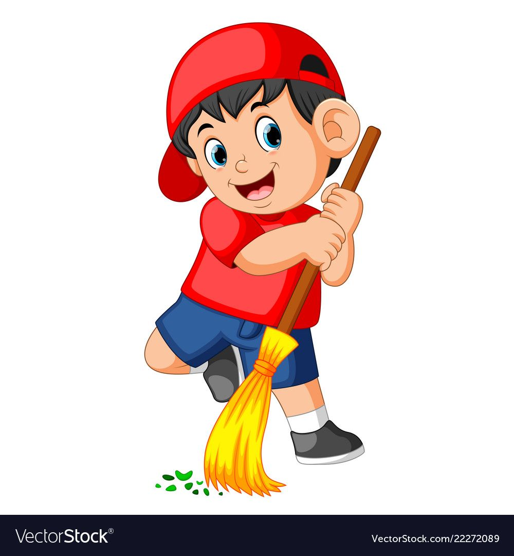 Boy take out the trash clipart free png stock Happy boy using the red cap sweep the trash Vector Image | การ์ตูน ... png stock