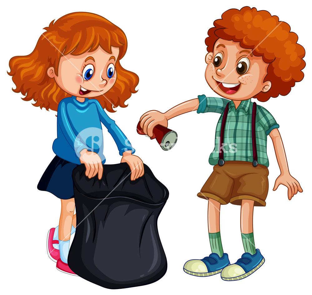 Trash pickers clipart vector library download Boy and girl picking up trash Royalty-Free Stock Image - Storyblocks ... vector library download