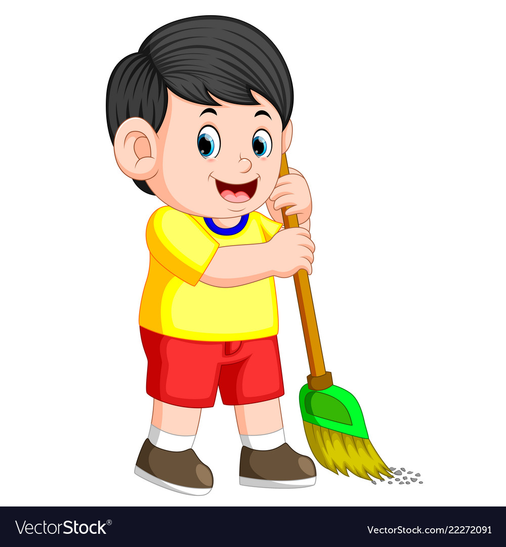 Boy take out the trash clipart free png freeuse stock Boy with the black hair is sweeping the trash png freeuse stock