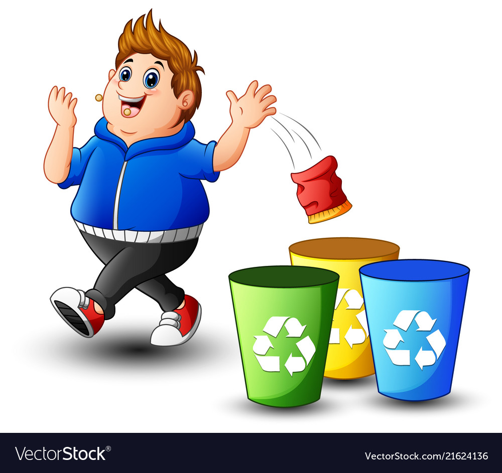 Boy take out the trash clipart free transparent download Fat boy throws garbage in the trash transparent download