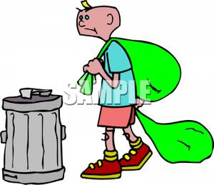 Boy take out the trash clipart free svg freeuse stock A Boy Taking Out Two Bags Of Garbage - Royalty Free Clipart Picture svg freeuse stock